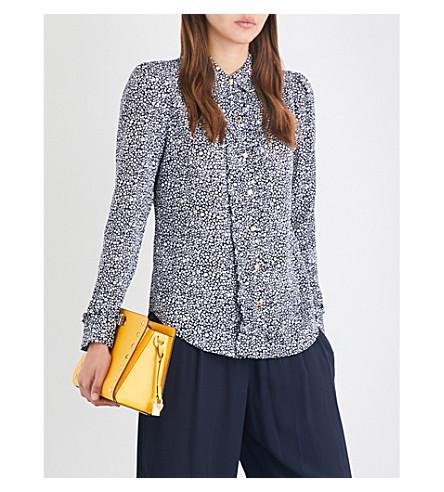 MICHAEL MICHAEL KORS Thora ruffled floral-print silk-crepe blouse (Black