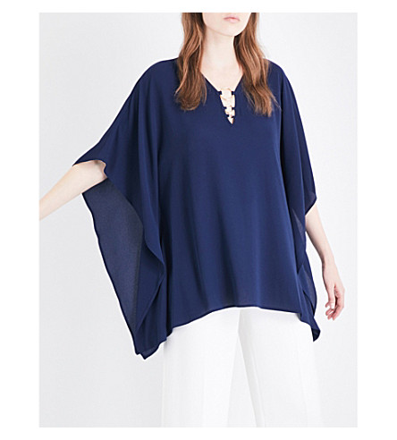 MICHAEL MICHAEL KORS Flutter stretch-crepe top (True+navy