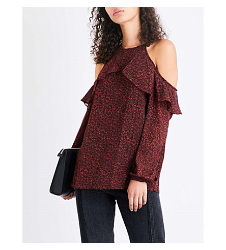 MICHAEL MICHAEL KORS Cold shoulder floral-print chiffon top (True+red