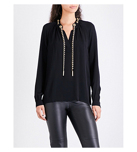 MICHAEL MICHAEL KORS Chain-detailed silk-crepe top (Black