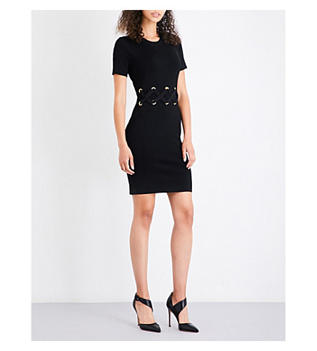 MICHAEL MICHAEL KORS Lace-up stretch-knit mini dress (Black