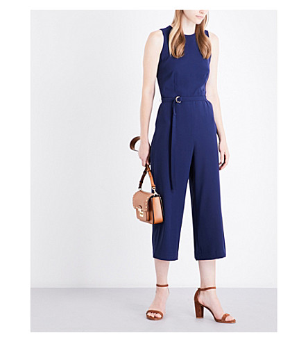 MICHAEL MICHAEL KORS Belted crepe jumpsuit (True+navy