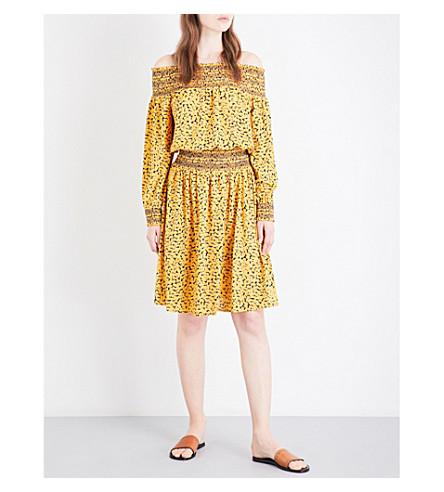 MICHAEL MICHAEL KORS Finley off-the-shoulder crepe dress (Taxi+yellow