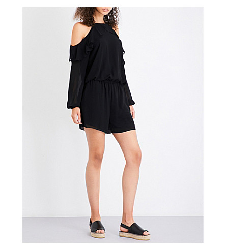 MICHAEL MICHAEL KORS Ruffled chiffon playsuit (Black