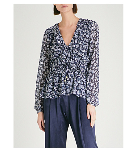 MICHAEL MICHAEL KORS Cherry-blossom print sheer blouse (True+navy/light+chambray