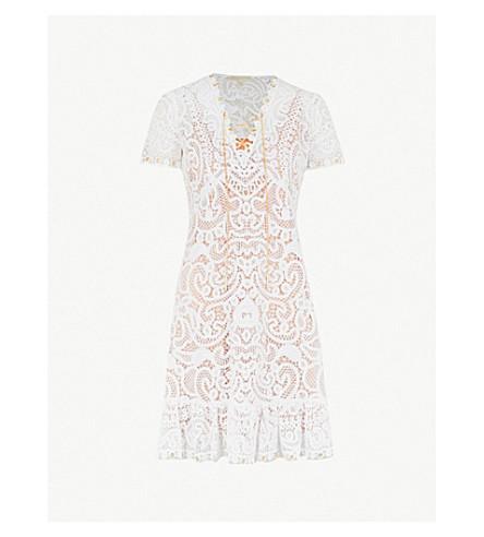 MICHAEL MICHAEL KORS Chain-trim cotton lace mini dress (White
