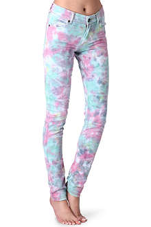HOUSE OF HOLLAND Tie-dye skinny mid-rise jeans