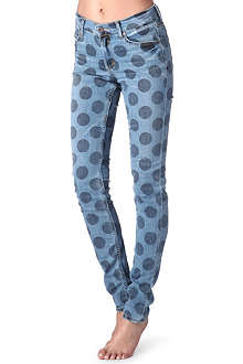 HOUSE OF HOLLAND Polka-dot skinny mid-rise jeans
