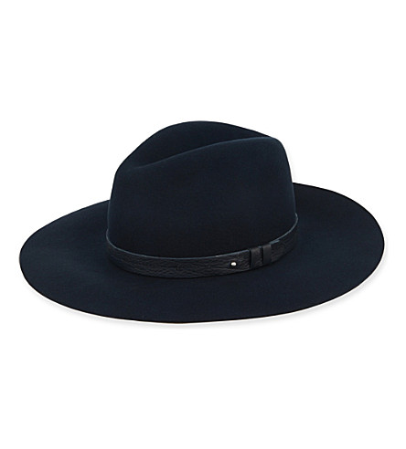 RAG & BONE Wide brim fedora hat (Navy