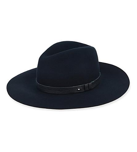 RAG & BONE 宽边缘软呢帽帽子 (海军