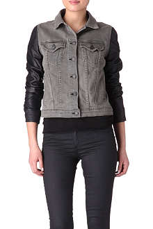 RAG & BONE Leather sleeve denim jacket