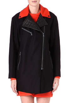 RAG & BONE Contrast-collar wool-blend coat