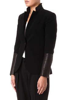 RAG & BONE Leather-sleeve blazer