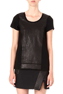 RAG & BONE Tess leather-front top
