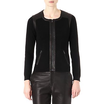 RAG & BONE Brynn wool and leather trim jacket (Black