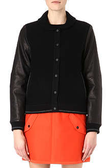 RAG & BONE Leather-sleeved bomber jacket