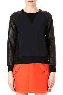 RAG & BONE Kent stretch-crepe and leather sweatshirt