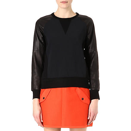 RAG & BONE Kent stretch-crepe and leather sweatshirt (Black