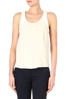 RAG & BONE Leather panel silk top