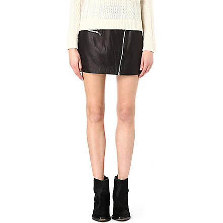 RAG & BONE Leather biker mini skirt (Black