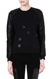 RAG & BONE Dixie leather-detailed sweatshirt