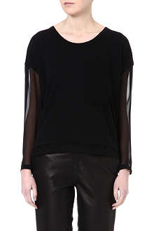 RAG & BONE Feather chiffon-sleeve top