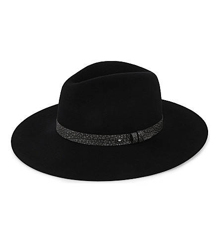RAG & BONE Wide brim Fedora (Black