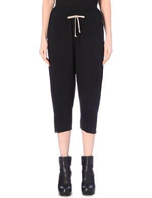 DRKSHDW Drawstring cropped cotton-jersey trousers