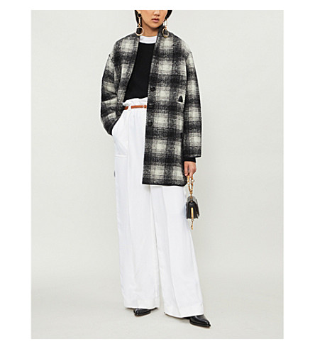 ISABEL MARANT ETOILE Gabrie checked wool-blend coat (Anthracite