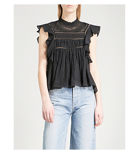 ISABEL MARANT ETOILE Vivia lace-detail cotton-blend blouse (Black