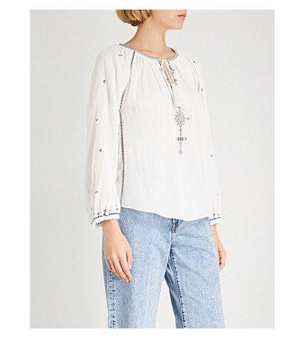 ISABEL MARANT ETOILE Melina embroidered-detail cotton blouse (Ecru