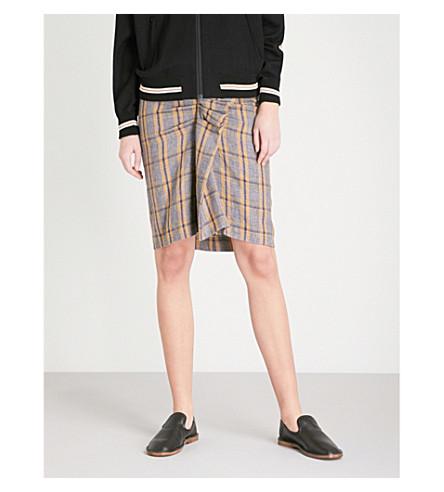 ISABEL MARANT ETOILE Ines checked linen skirt (Ochre