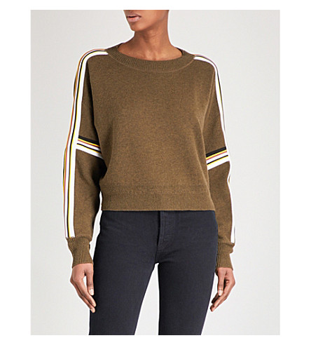 ISABEL MARANT ETOILE Kao striped knitted sweatshirt (Khaki