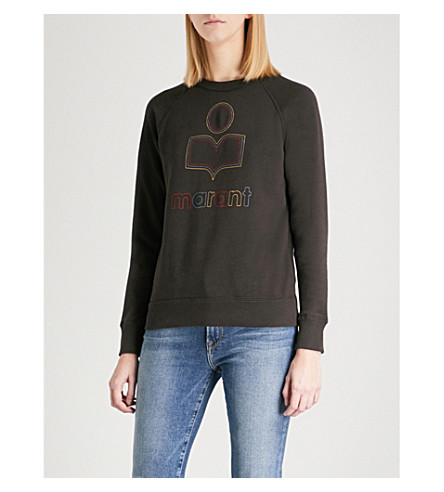 ISABEL MARANT ETOILE Milly logo-flocked cotton-blend sweatshirt (Faded+black