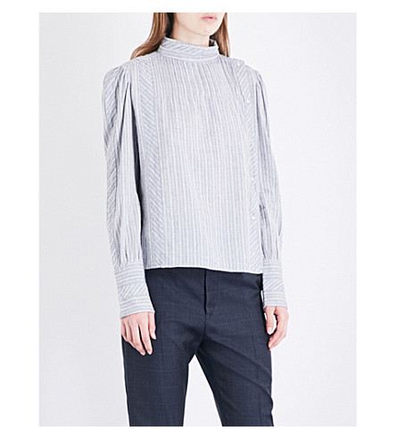 ISABEL MARANT ETOILE Oak striped cotton shirt (Light+grey