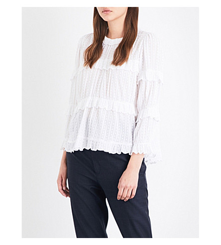 ISABEL MARANT ETOILE Karia frilled cotton top (White
