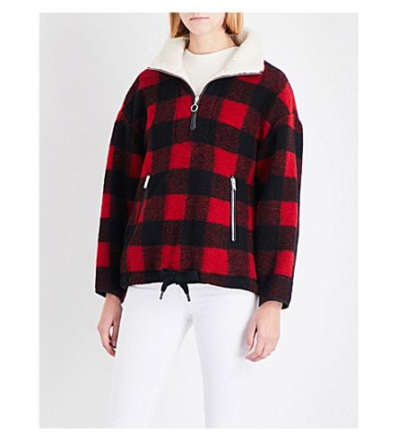ISABEL MARANT ETOILE Gilas chunky-knit wool-blend jacket (Black+red