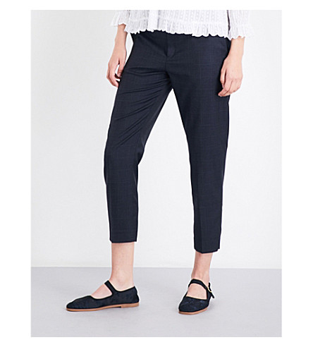 ISABEL MARANT ETOILE Noah tapered cropped high-rise wool trousers (Midnight