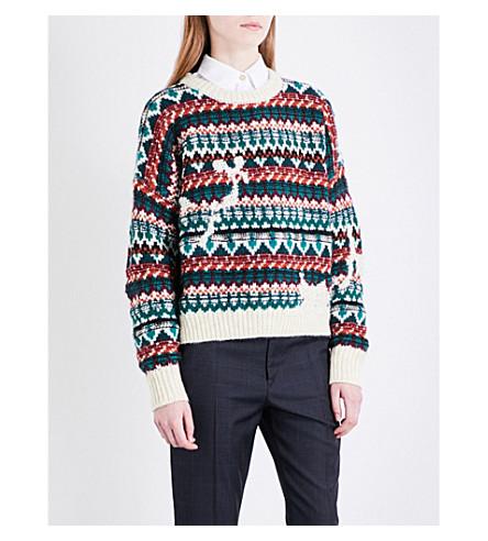 ISABEL MARANT ETOILE Elroy Fair Isle knitted jumper (Emerald