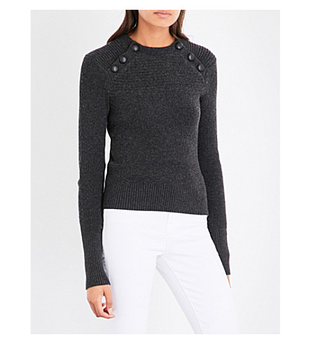 ISABEL MARANT ETOILE Koyie cotton and wool-blend sweater (Anthracite