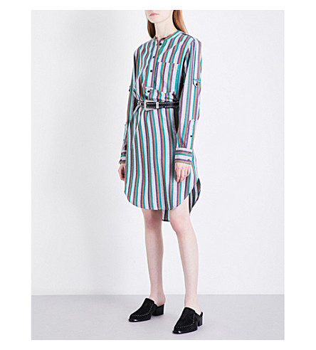 ISABEL MARANT ETOILE Orchide striped cotton shirt dress (Grey+green