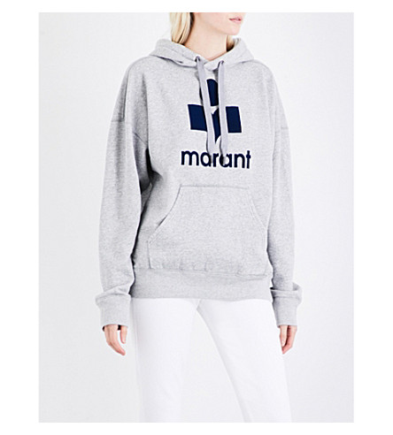 ISABEL MARANT ETOILE Mansel logo-flocked cotton-blend hoody (Grey