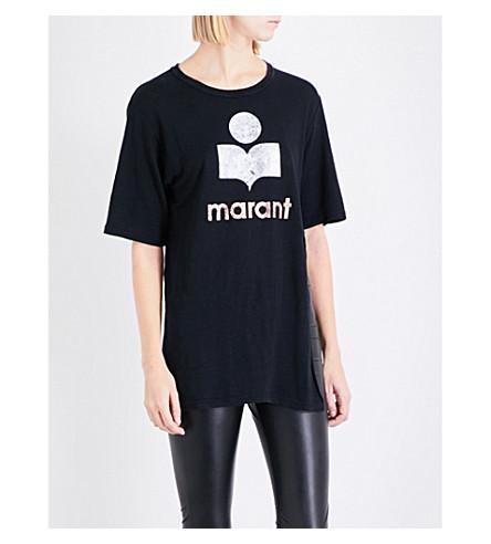 ISABEL MARANT ETOILE Logo-print linen T-shirt (Black
