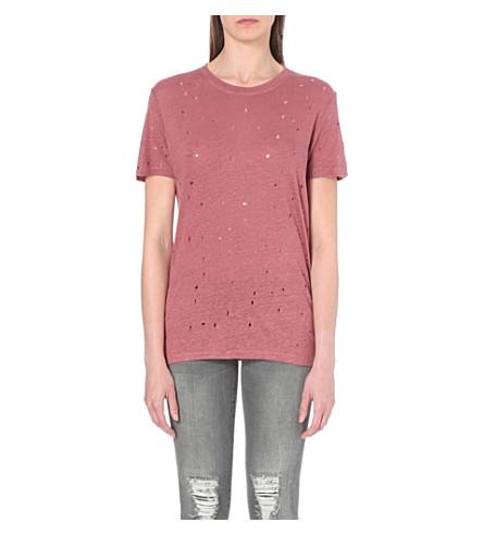 IRO Clay distressed linen T-shirt (Pink