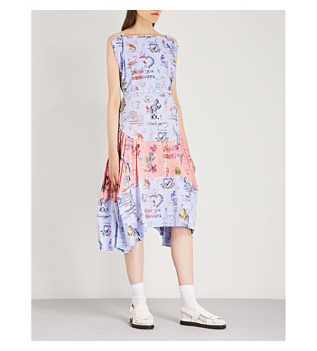 VIVIENNE WESTWOOD ANGLOMANIA Violet printed cotton and satin dress (Blue