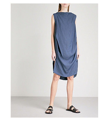 VIVIENNE WESTWOOD ANGLOMANIA Fatima draped sleeveless woven dress (Navy