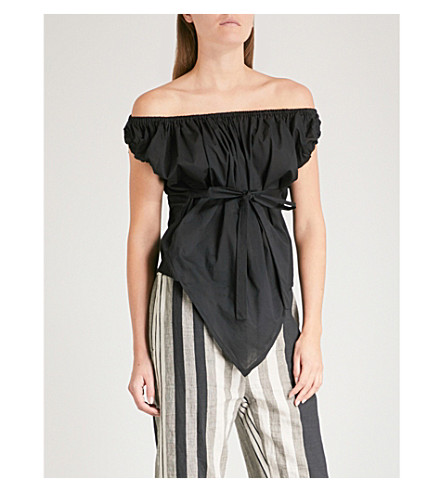 VIVIENNE WESTWOOD ANGLOMANIA Hope Gypsy off-the-shoulder cotton top (Black