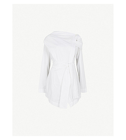 VIVIENNE WESTWOOD ANGLOMANIA Wrap-front cotton shirt (Optical+white
