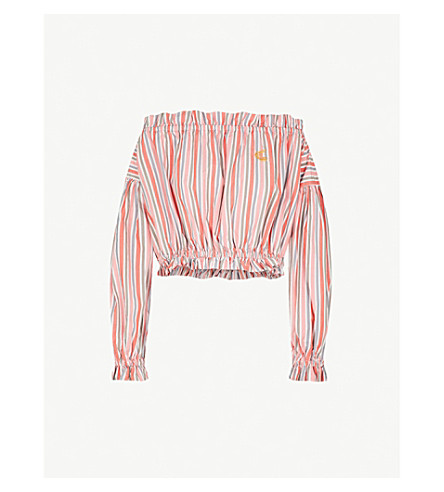 VIVIENNE WESTWOOD ANGLOMANIA Striped off-the-shoulder cotton top (Orange+stripe