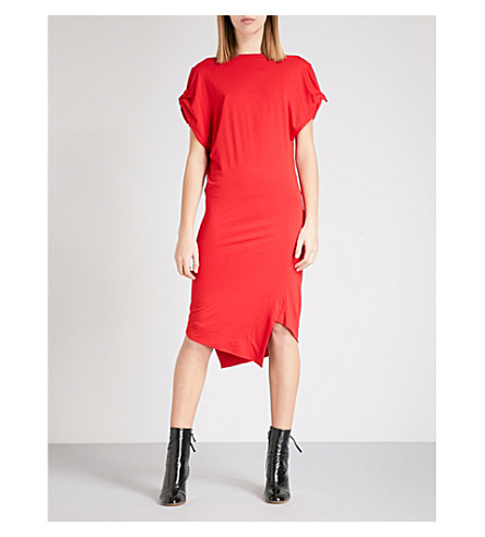 VIVIENNE WESTWOOD ANGLOMANIA Asymmetric georgette dress (Red